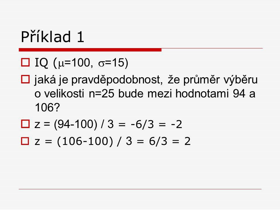 Příklad 1  IQ ( =100,  =15)  jaká je pravděpodobnost, že průměr výběru o velikosti n=25 bude mezi hodnotami 94 a 106?  z = (94-100) / 3 = -6/3 =