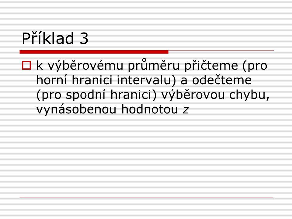 Příklad 3  k výběrovému průměru přičteme (pro horní hranici intervalu) a odečteme (pro spodní hranici) výběrovou chybu, vynásobenou hodnotou z