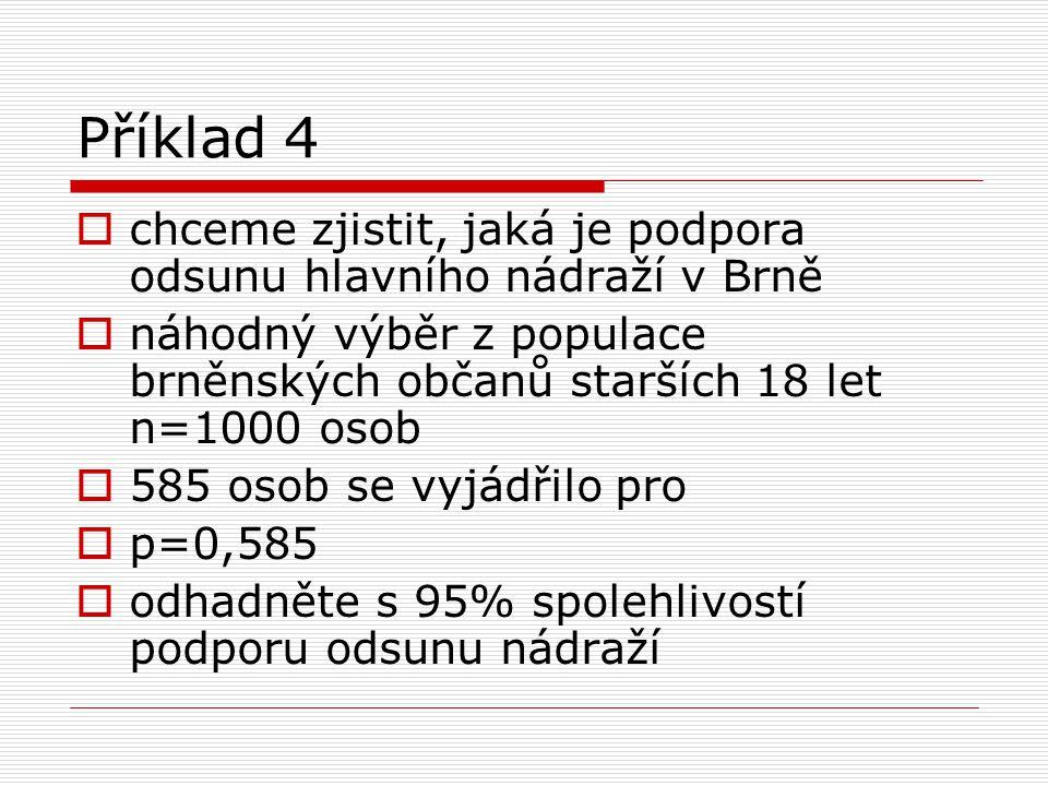 Příklad 4  chceme zjistit, jaká je podpora odsunu hlavního nádraží v Brně  náhodný výběr z populace brněnských občanů starších 18 let n=1000 osob 