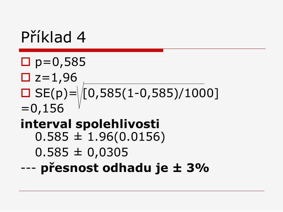 Příklad 4  p=0,585  z=1,96  SE(p)= [0,585(1-0,585)/1000] =0,156 interval spolehlivosti 0.585 ± 1.96(0.0156) 0.585 ± 0,0305 --- přesnost odhadu je ±