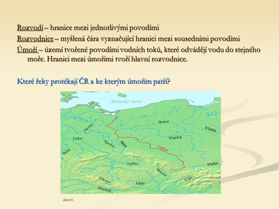 Rozvodí – hranice mezi jednotlivými povodími Rozvodnice – myšlená čára vyznačující hranici mezi sousedními povodími Úmoří – území tvořené povodími vod