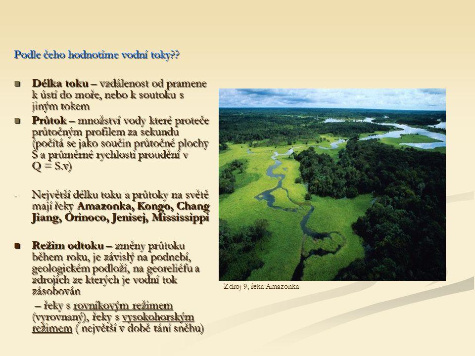 Podle čeho hodnotíme vodní toky?? Délka toku – vzdálenost od pramene k ústí do moře, nebo k soutoku s jiným tokem Délka toku – vzdálenost od pramene k