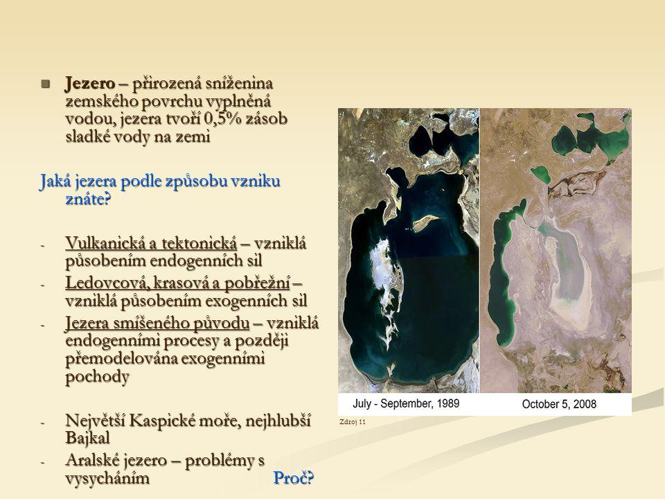 Jezero – přirozená sníženina zemského povrchu vyplněná vodou, jezera tvoří 0,5% zásob sladké vody na zemi Jezero – přirozená sníženina zemského povrch