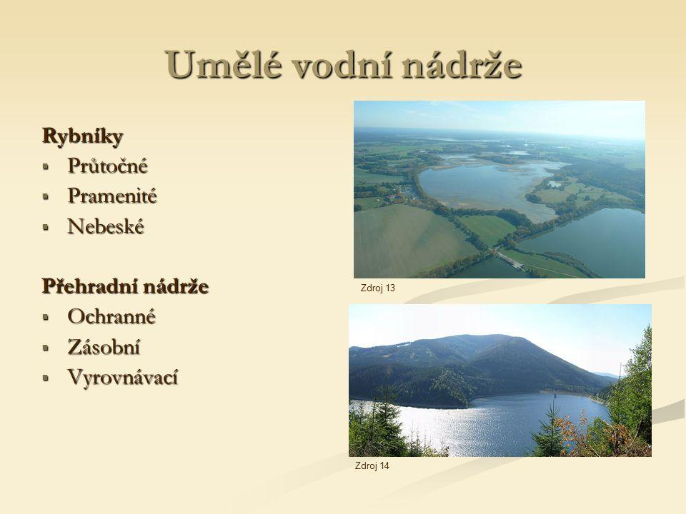 Umělé vodní nádrže Rybníky  Průtočné  Pramenité  Nebeské Přehradní nádrže  Ochranné  Zásobní  Vyrovnávací Zdroj 13 Zdroj 14