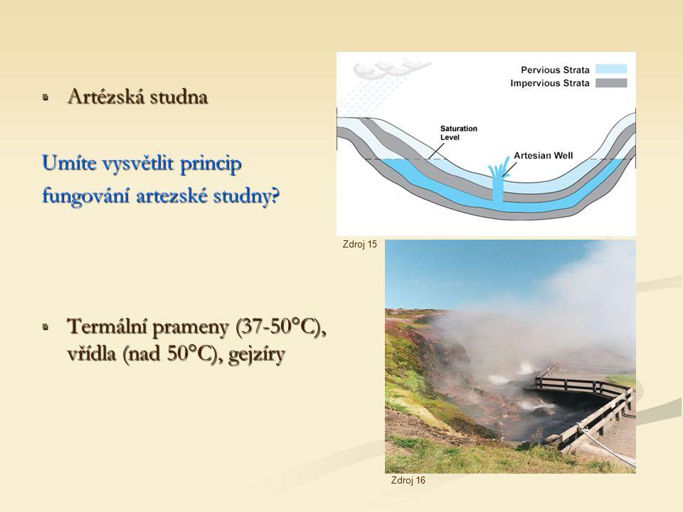  Artézská studna Umíte vysvětlit princip fungování artezské studny?  Termální prameny (37-50°C), vřídla (nad 50°C), gejzíry Zdroj 15 Zdroj 16