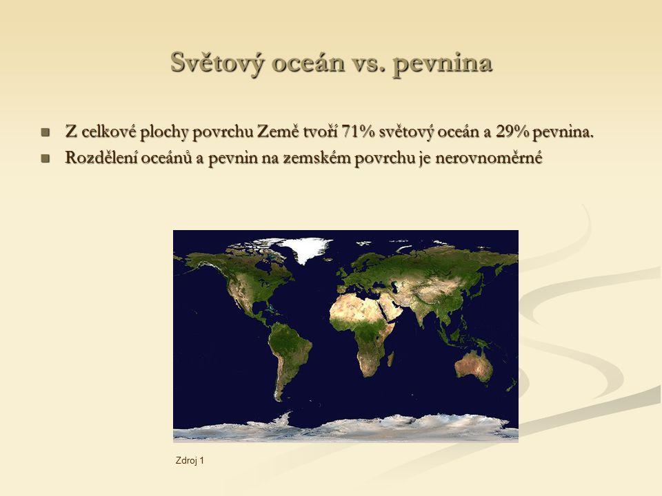 Světový oceán vs. pevnina Z celkové plochy povrchu Země tvoří 71% světový oceán a 29% pevnina. Z celkové plochy povrchu Země tvoří 71% světový oceán a