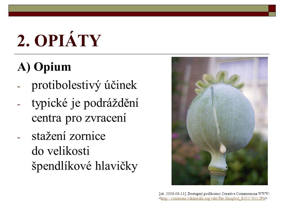 2. OPIÁTY A) Opium - protibolestivý účinek - typické je podráždění centra pro zvracení - stažení zornice do velikosti špendlíkové hlavičky [cit. 2006-