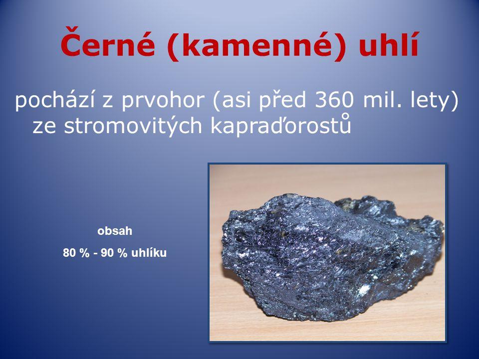 Černé (kamenné) uhlí pochází z prvohor (asi před 360 mil. lety) ze stromovitých kapraďorostů obsah 80 % - 90 % uhlíku
