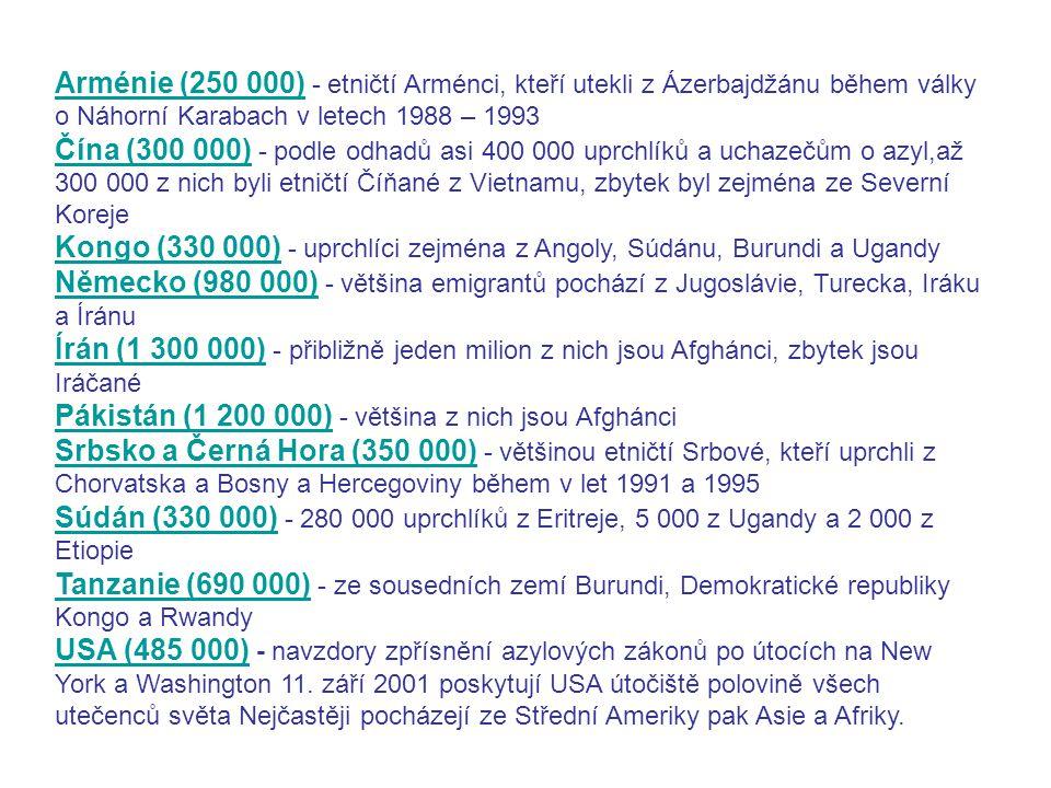 Arménie (250 000) Arménie (250 000) - etničtí Arménci, kteří utekli z Ázerbajdžánu během války o Náhorní Karabach v letech 1988 – 1993 Čína (300 000)