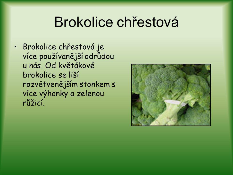 Brokolice chřestová Brokolice chřestová je více používanější odrůdou u nás. Od květákové brokolice se liší rozvětvenějším stonkem s více výhonky a zel