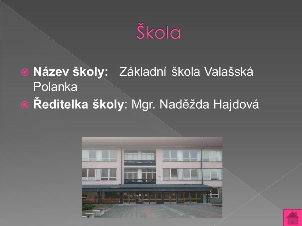  Název školy: Základní škola Valašská Polanka  Ředitelka školy: Mgr. Naděžda Hajdová