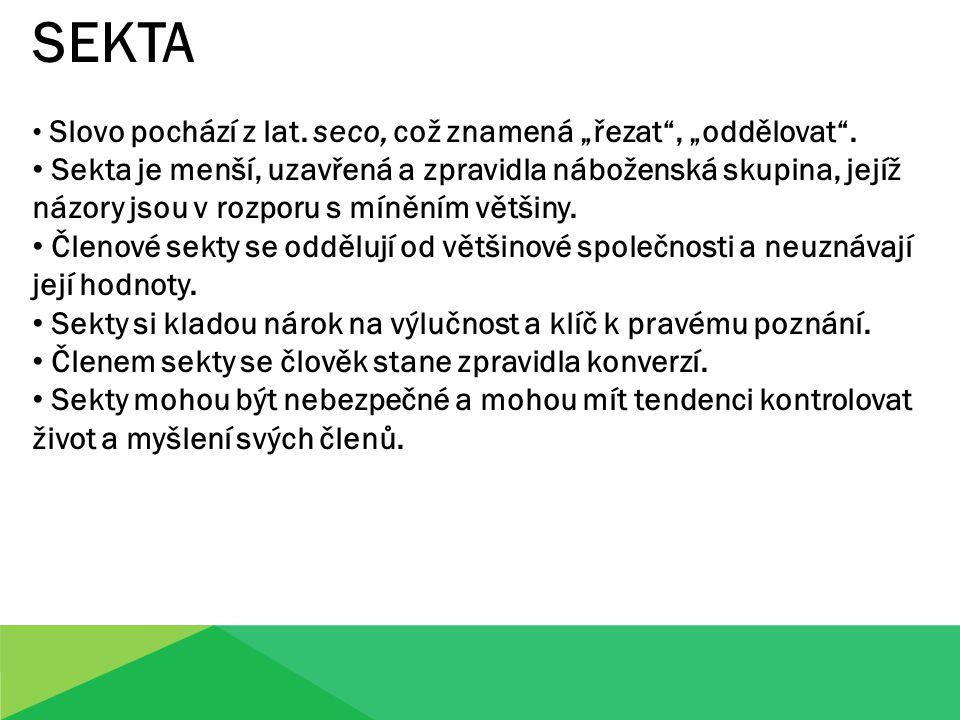 """SEKTA Slovo pochází z lat.seco, což znamená """"řezat , """"oddělovat ."""