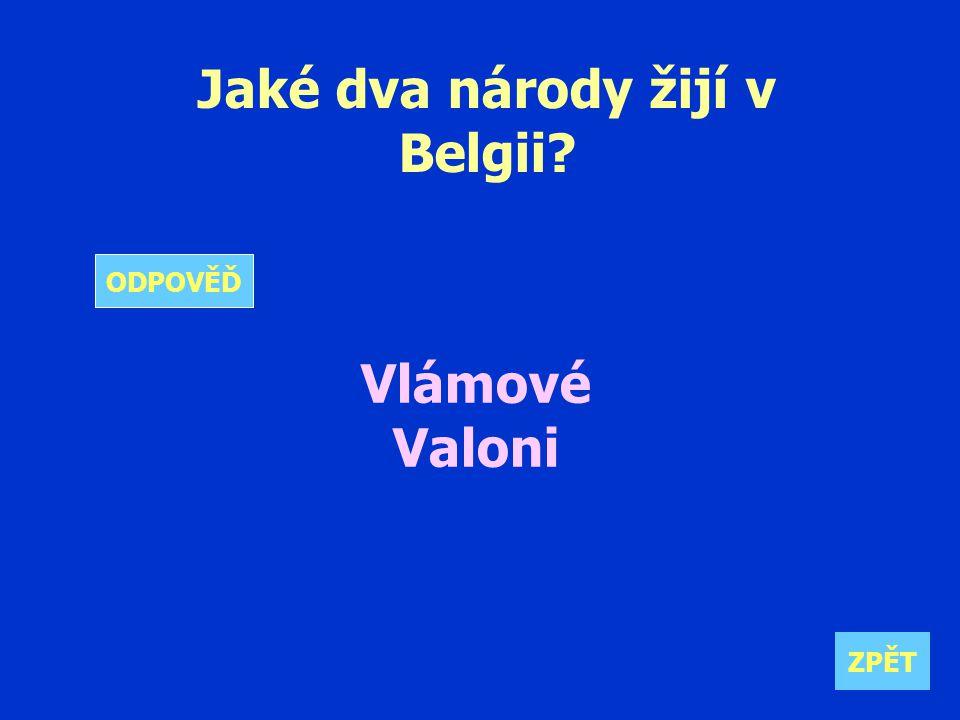 Jaké dva národy žijí v Belgii Vlámové Valoni ZPĚT ODPOVĚĎ