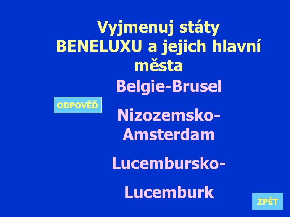 Vyjmenuj státy BENELUXU a jejich hlavní města Belgie-Brusel Nizozemsko- Amsterdam Lucembursko- Lucemburk ZPĚT ODPOVĚĎ