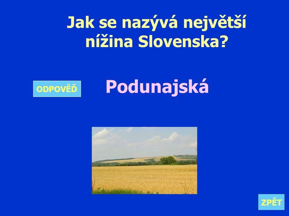 Jak se nazývá největší nížina Slovenska Podunajská ZPĚT ODPOVĚĎ