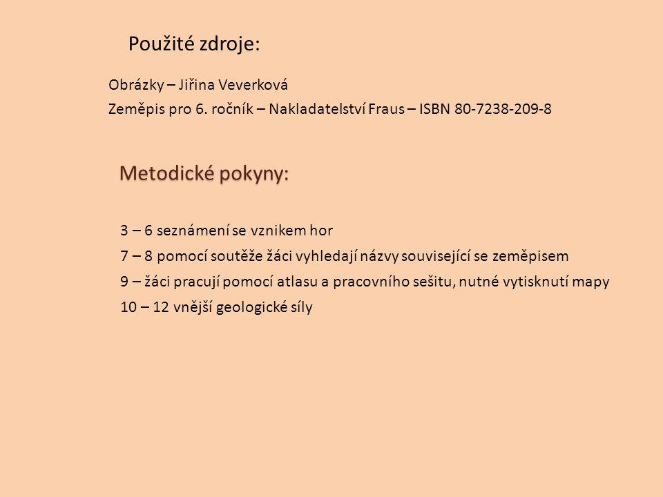 Použité zdroje: Obrázky – Jiřina Veverková Zeměpis pro 6. ročník – Nakladatelství Fraus – ISBN 80-7238-209-8 Metodické pokyny: 3 – 6 seznámení se vzni