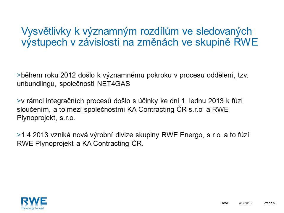 RWEStrana 5 Vysvětlivky k významným rozdílům ve sledovaných výstupech v závislosti na změnách ve skupině RWE >během roku 2012 došlo k významnému pokro