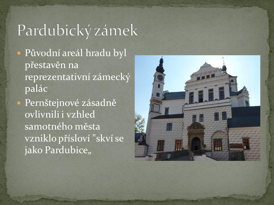 """Původní areál hradu byl přestavěn na reprezentativní zámecký palác Pernštejnové zásadně ovlivnili i vzhled samotného města vzniklo přísloví skví se jako Pardubice"""""""