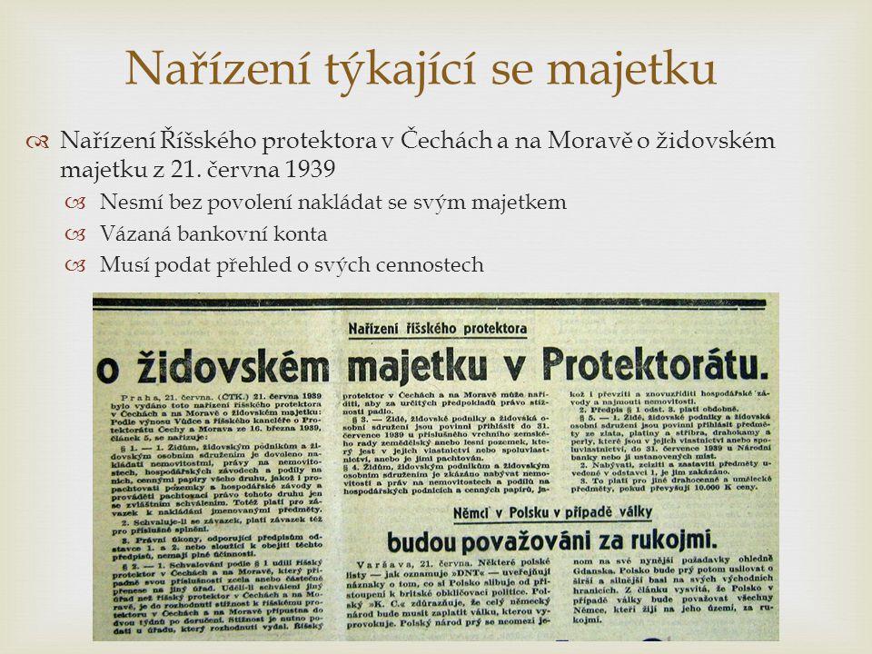 Nařízení týkající se majetku  Nařízení Říšského protektora v Čechách a na Moravě o židovském majetku z 21. června 1939  Nesmí bez povolení nakládat