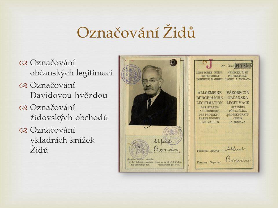  Označování občanských legitimací  Označování Davidovou hvězdou  Označování židovských obchodů  Označování vkladních knížek Židů Označování Židů