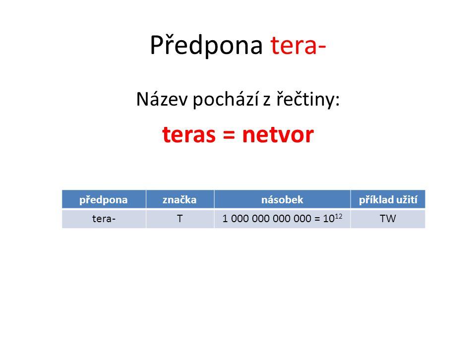 Předpona tera- Název pochází z řečtiny: teras = netvor předponaznačkanásobekpříklad užití tera-T1 000 000 000 000 = 10 12 TW