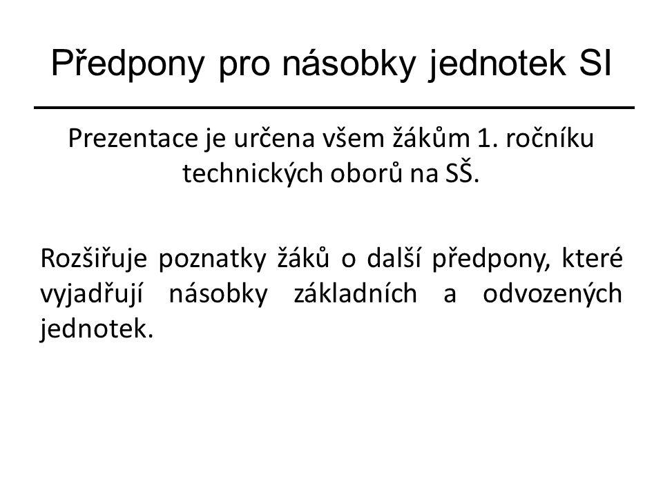 Předpony pro násobky jednotek SI Prezentace je určena všem žákům 1.