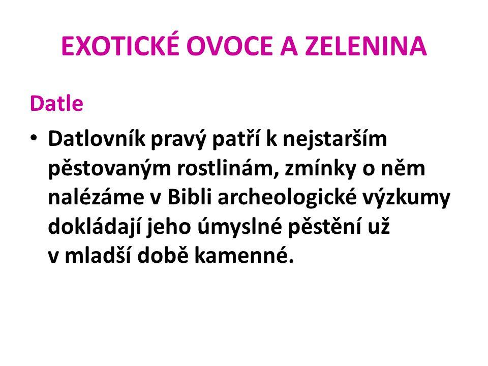 EXOTICKÉ OVOCE A ZELENINA Datle Datlová semena jsou zdrojem datlového oleje (používá se v kosmetice) či surovina pro výrobu kyseliny šťavelové.