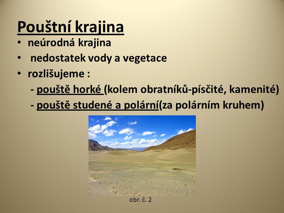 Pouštní krajina neúrodná krajina nedostatek vody a vegetace rozlišujeme : - pouště horké (kolem obratníků-písčité, kamenité) - pouště studené a polárn