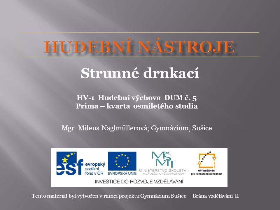 HV-1 Hudební výchova DUM č. 5 Prima – kvarta osmiletého studia Mgr. Milena Naglmüllerová; Gymnázium, Sušice Tento materiál byl vytvořen v rámci projek