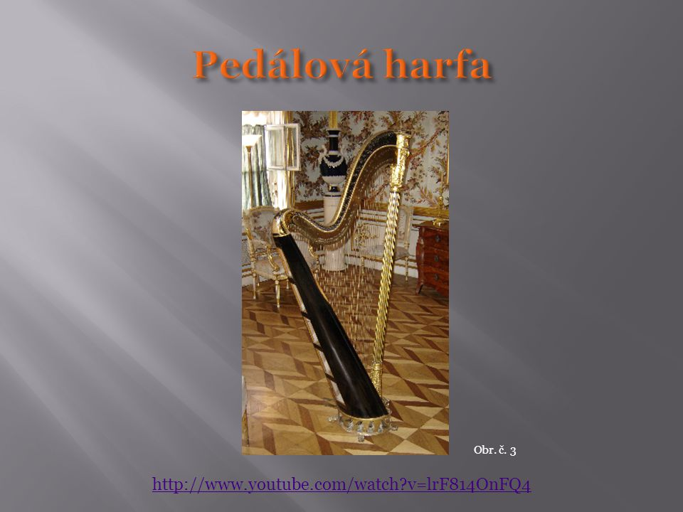  Korpus  Loutna – hruškovitý; kytara - plochý  Krk – hmatník s pražci  Kobylka  Šroubové ladící zařízení  Různý počet strun  Kytara 6 strun  Harfa:  47 strun (fes modré, ces červené)  7 pedálů – 1 sešlápnutí + půltón, 2 sešlápnutí + celý tón