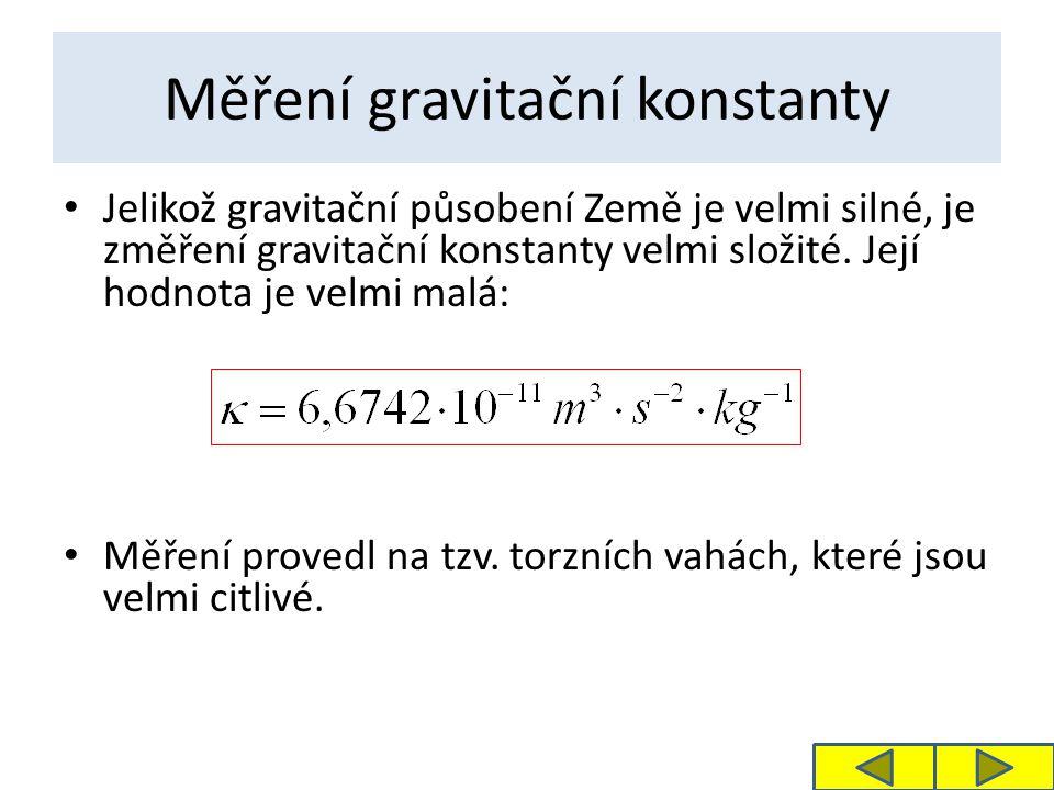 Měření gravitační konstanty Jelikož gravitační působení Země je velmi silné, je změření gravitační konstanty velmi složité.