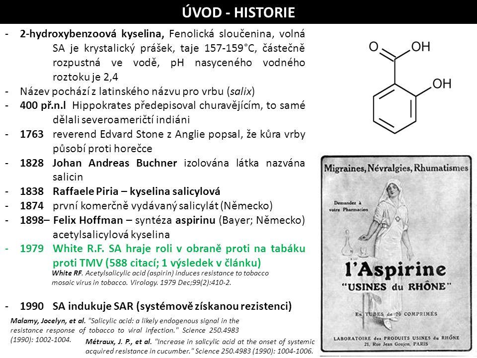 ÚVOD - HISTORIE -2-hydroxybenzoová kyselina, Fenolická sloučenina, volná SA je krystalický prášek, taje 157-159°C, částečně rozpustná ve vodě, pH nasy