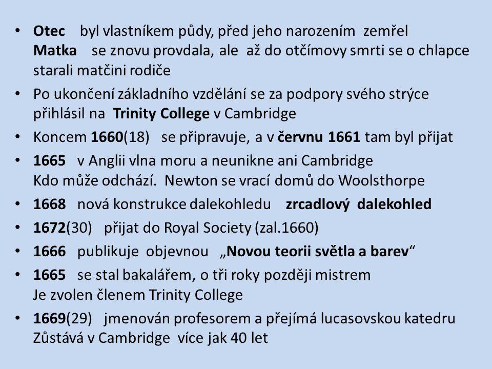Otec byl vlastníkem půdy, před jeho narozením zemřel Matka se znovu provdala, ale až do otčímovy smrti se o chlapce starali matčini rodiče Po ukončení základního vzdělání se za podpory svého strýce přihlásil na Trinity College v Cambridge Koncem 1660(18) se připravuje, a v červnu 1661 tam byl přijat 1665 v Anglii vlna moru a neunikne ani Cambridge Kdo může odchází.