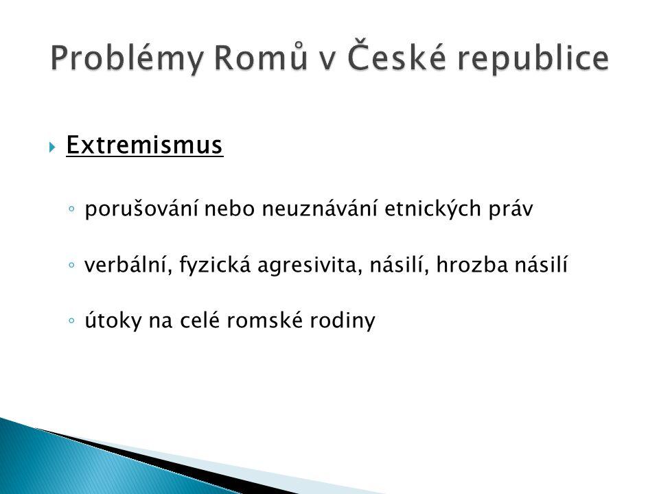  Extremismus ◦ porušování nebo neuznávání etnických práv ◦ verbální, fyzická agresivita, násilí, hrozba násilí ◦ útoky na celé romské rodiny