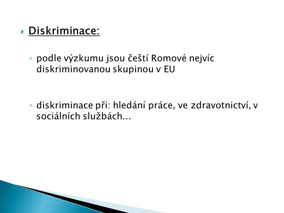  Diskriminace: ◦ podle výzkumu jsou čeští Romové nejvíc diskriminovanou skupinou v EU ◦ diskriminace při: hledání práce, ve zdravotnictví, v sociálních službách...