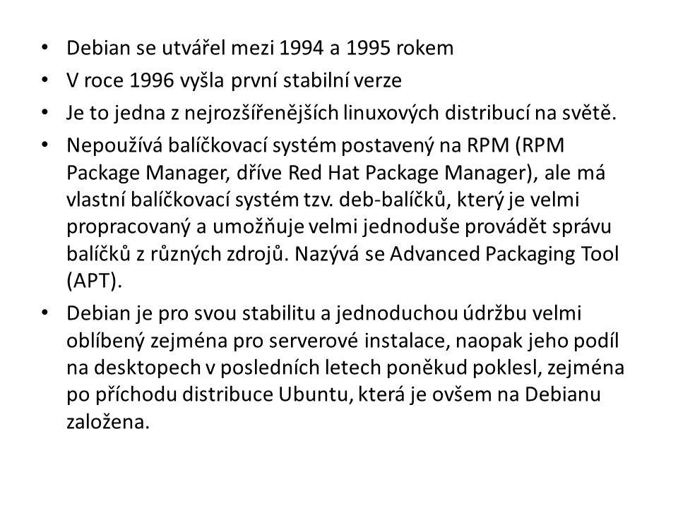 Debian se utvářel mezi 1994 a 1995 rokem V roce 1996 vyšla první stabilní verze Je to jedna z nejrozšířenějších linuxových distribucí na světě. Nepouž