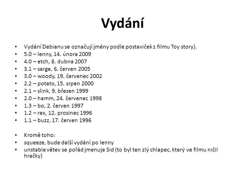 Vydání Vydání Debianu se označují jmény podle postaviček z filmu Toy story). 5.0 – lenny, 14. února 2009 4.0 – etch, 8. dubna 2007 3.1 – sarge, 6. čer
