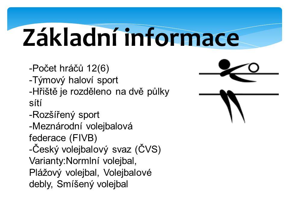 Základní informace -Počet hráčů 12(6) -Týmový haloví sport -Hřiště je rozděleno na dvě půlky sítí -Rozšířený sport -Meznárodní volejbalová federace (F