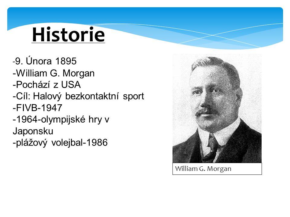- 9. Února 1895 -William G. Morgan -Pochází z USA -Cíl: Halový bezkontaktní sport -FIVB-1947 -1964-olympijské hry v Japonsku -plážový volejbal-1986 Hi