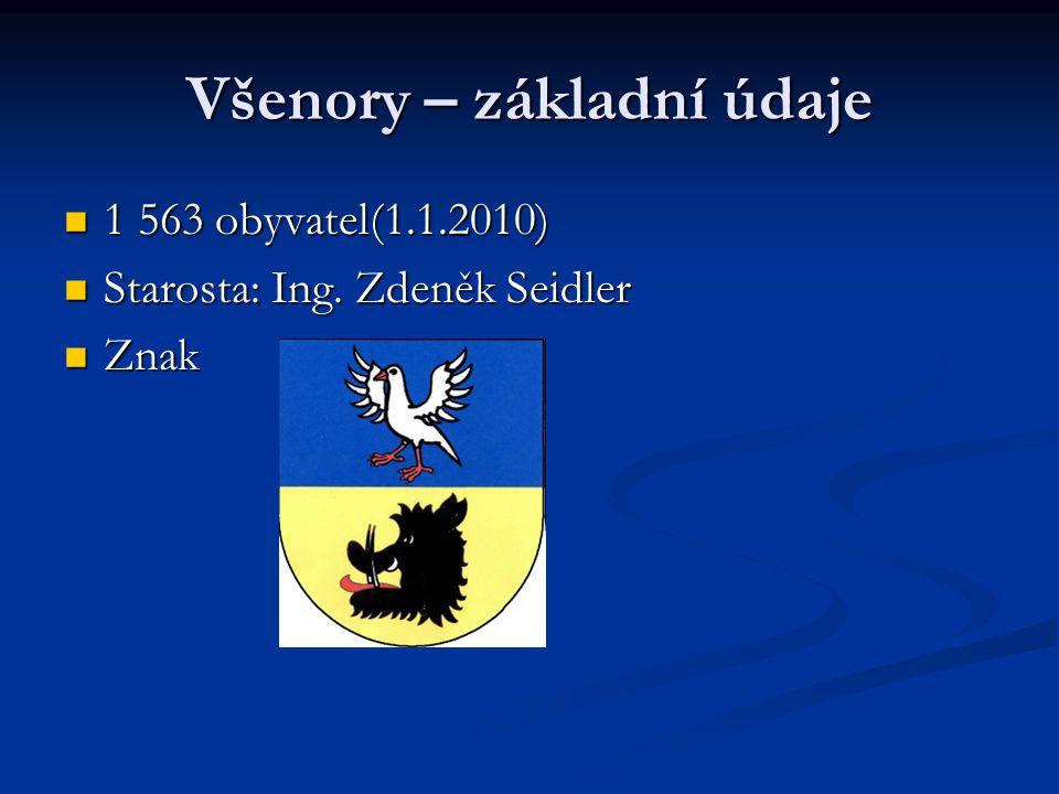 Všenory – základní údaje 1 563 obyvatel(1.1.2010) 1 563 obyvatel(1.1.2010) Starosta: Ing. Zdeněk Seidler Starosta: Ing. Zdeněk Seidler Znak Znak