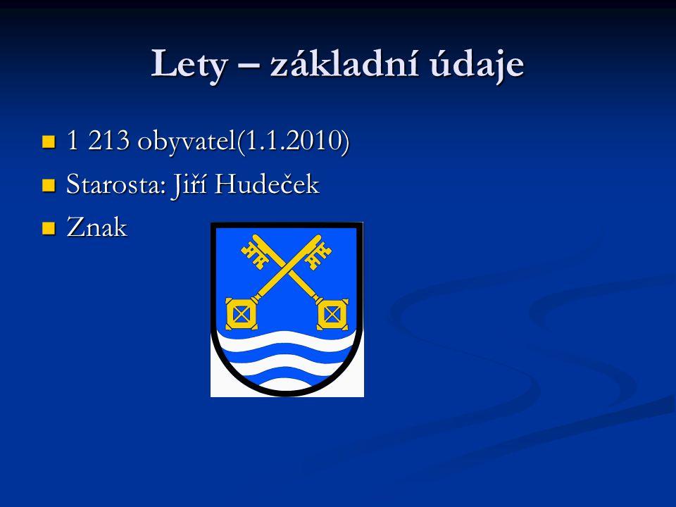 Lety – základní údaje 1 213 obyvatel(1.1.2010) 1 213 obyvatel(1.1.2010) Starosta: Jiří Hudeček Starosta: Jiří Hudeček Znak Znak