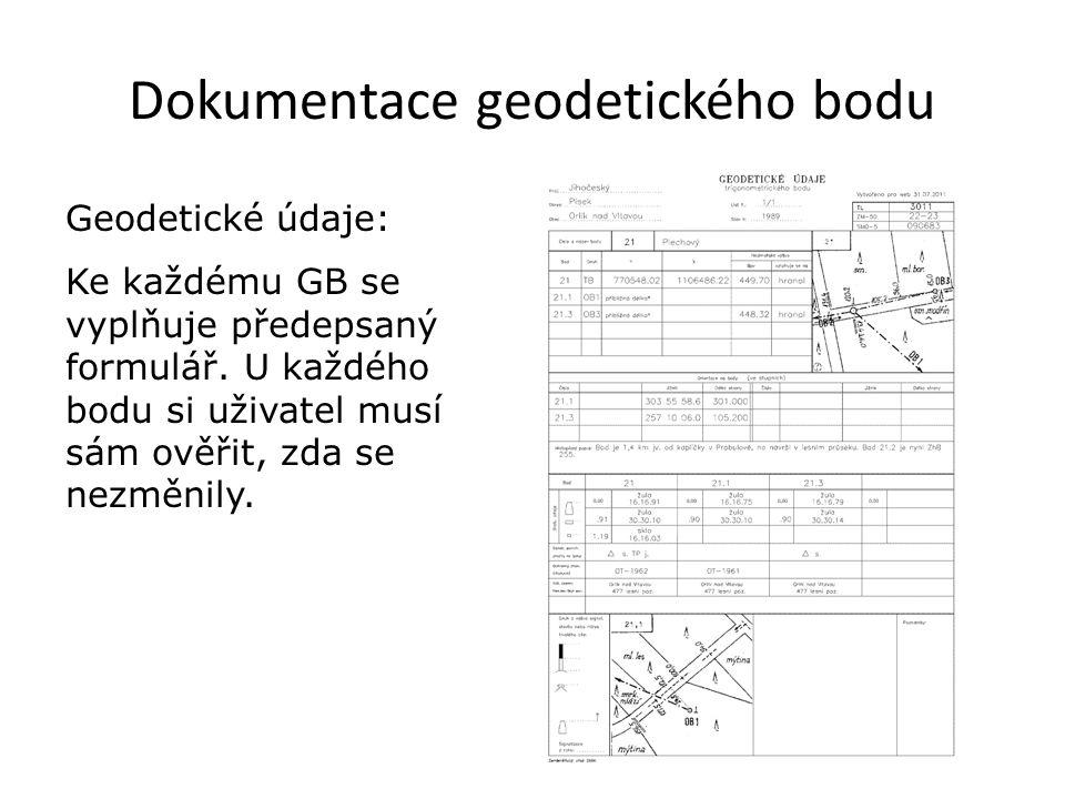 Dokumentace geodetického bodu Geodetické údaje: Ke každému GB se vyplňuje předepsaný formulář. U každého bodu si uživatel musí sám ověřit, zda se nezm