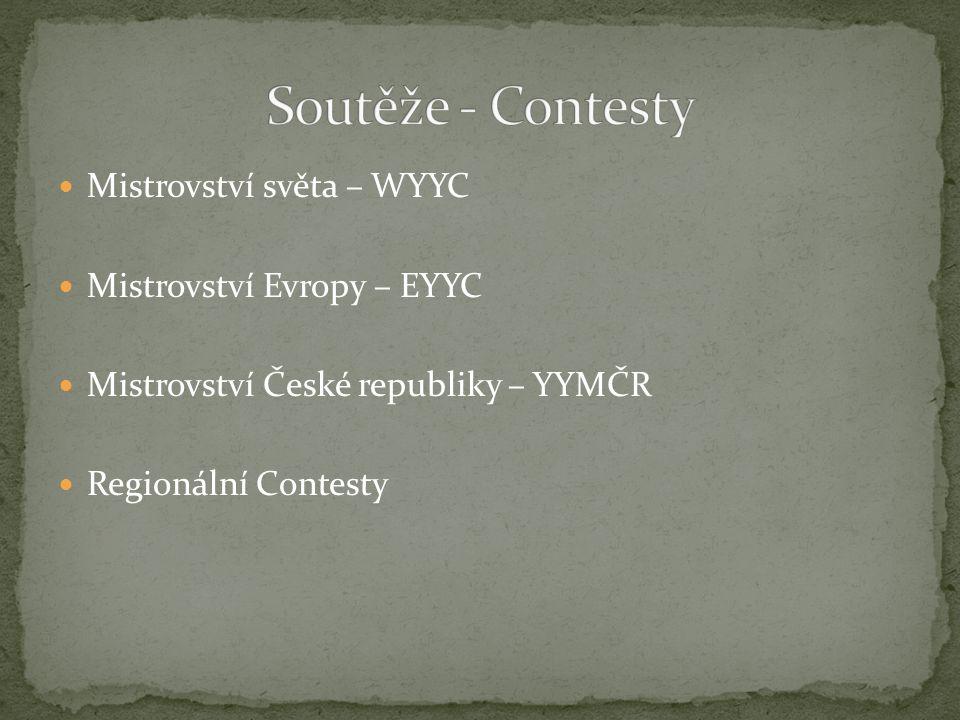 Mistrovství světa – WYYC Mistrovství Evropy – EYYC Mistrovství České republiky – YYMČR Regionální Contesty