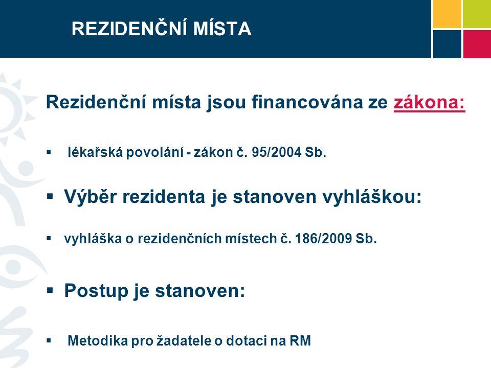 REZIDENČNÍ MÍSTA Rezidenční místa jsou financována ze zákona:  lékařská povolání - zákon č.