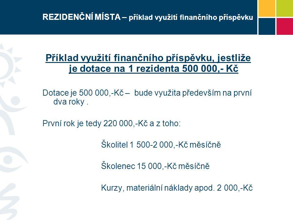 REZIDENČNÍ MÍSTA – příklad využití finančního příspěvku Příklad využití finančního příspěvku, jestliže je dotace na 1 rezidenta 500 000,- Kč Dotace je 500 000,-Kč – bude využita především na první dva roky.