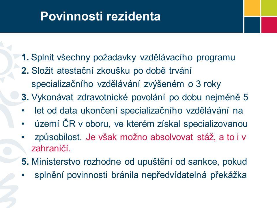 Povinnosti rezidenta 1.Splnit všechny požadavky vzdělávacího programu 2.