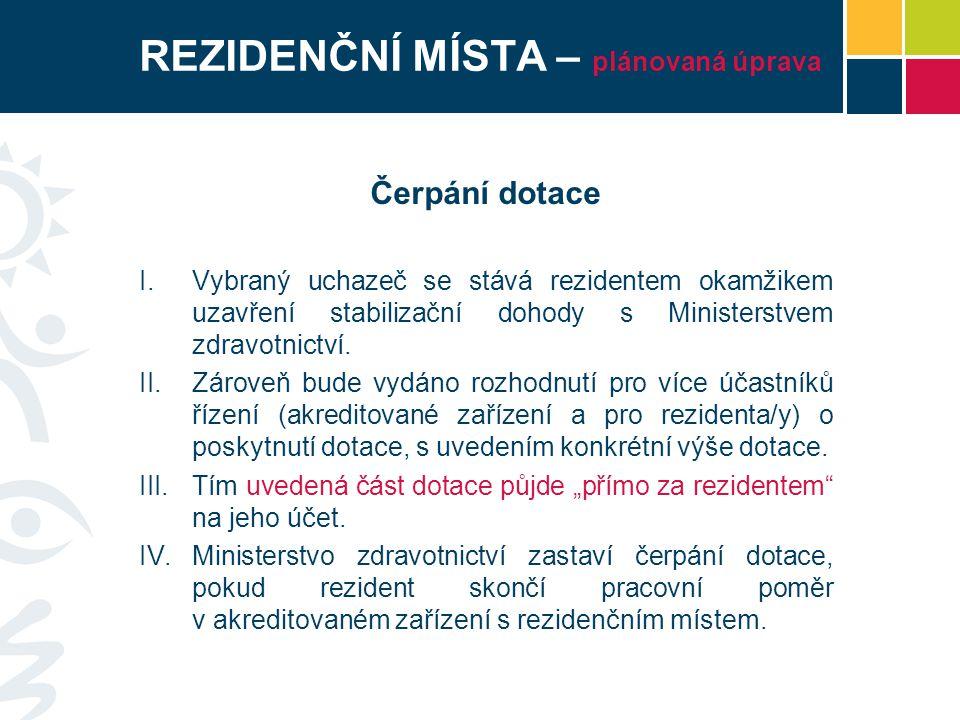 REZIDENČNÍ MÍSTA – plánovaná úprava Čerpání dotace I.Vybraný uchazeč se stává rezidentem okamžikem uzavření stabilizační dohody s Ministerstvem zdravotnictví.