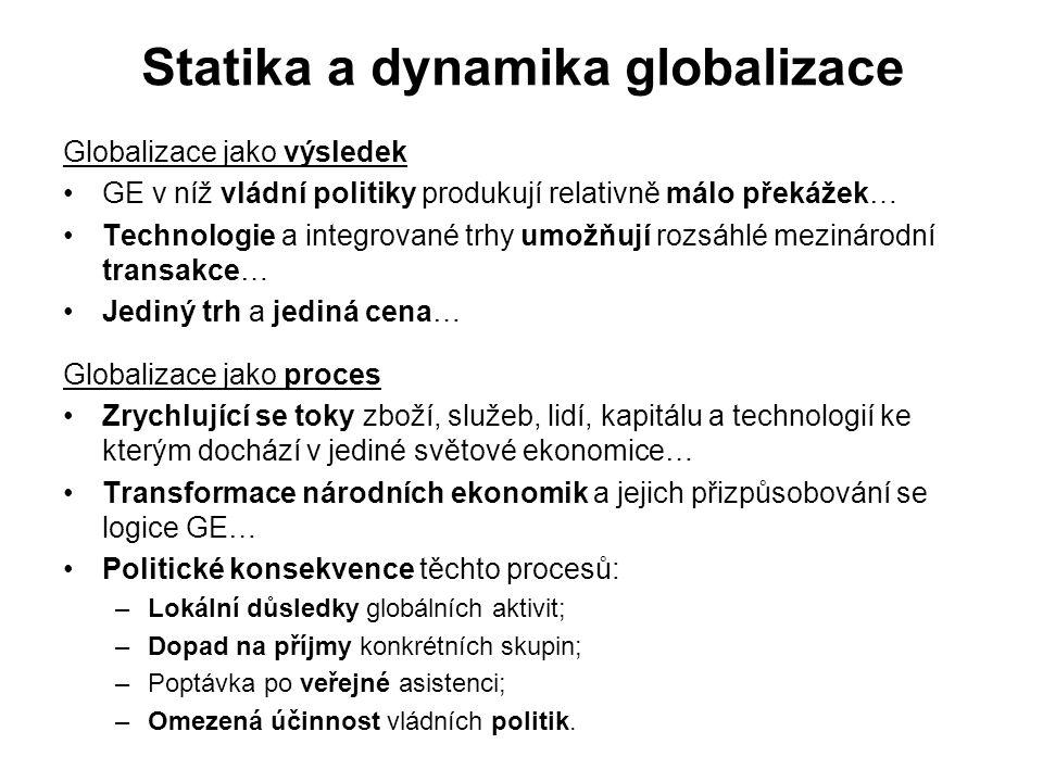 Statika a dynamika globalizace Globalizace jako výsledek GE v níž vládní politiky produkují relativně málo překážek… Technologie a integrované trhy umožňují rozsáhlé mezinárodní transakce… Jediný trh a jediná cena… Globalizace jako proces Zrychlující se toky zboží, služeb, lidí, kapitálu a technologií ke kterým dochází v jediné světové ekonomice… Transformace národních ekonomik a jejich přizpůsobování se logice GE… Politické konsekvence těchto procesů: –Lokální důsledky globálních aktivit; –Dopad na příjmy konkrétních skupin; –Poptávka po veřejné asistenci; –Omezená účinnost vládních politik.