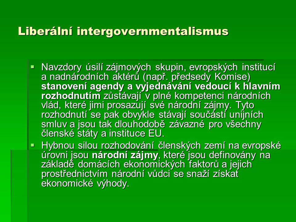 Liberální intergovernmentalismus  Navzdory úsilí zájmových skupin, evropských institucí a nadnárodních aktérů (např. předsedy Komise) stanovení agend