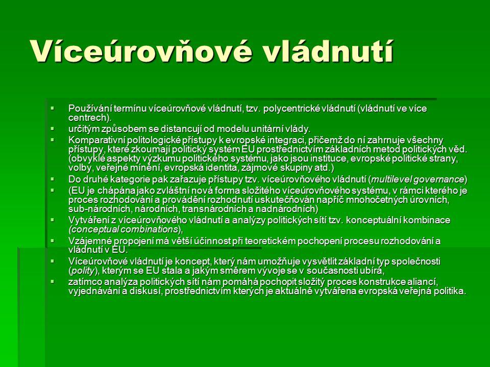 Víceúrovňové vládnutí  Používání termínu víceúrovňové vládnutí, tzv. polycentrické vládnutí (vládnutí ve více centrech).  určitým způsobem se distan